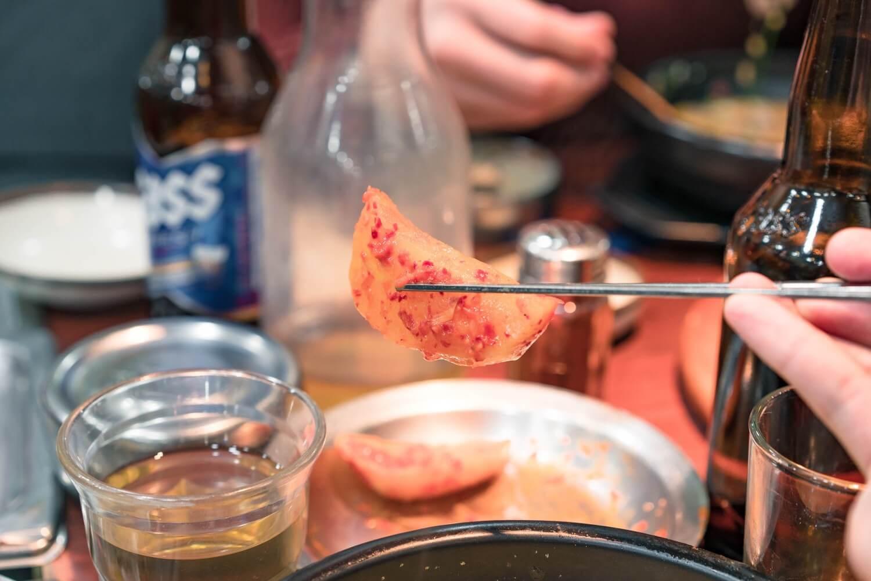 神仙ソルロンタンのカクテキキムチ