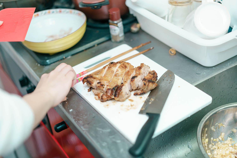 切った鶏肉
