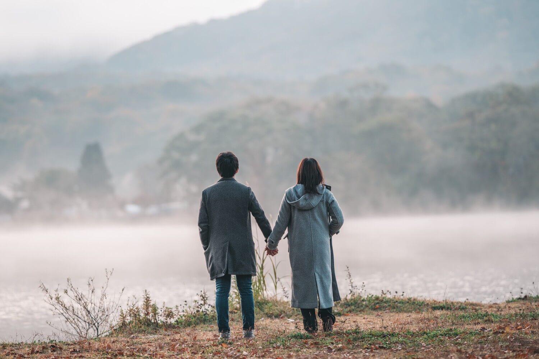 十和田湖で撮った2人の写真
