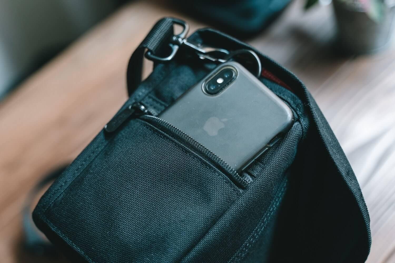 iphoneがちょうど入るくらいのサイドポケット